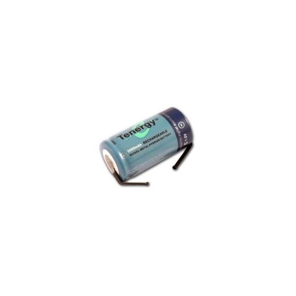 Pile NiMH C 5000 mAh tête plate avec languettes - 1,2V - Tenergy