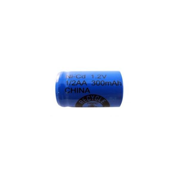 Pile NiCD 1/2 AA 300 mAh tête plate - 1,2V - Evergreen