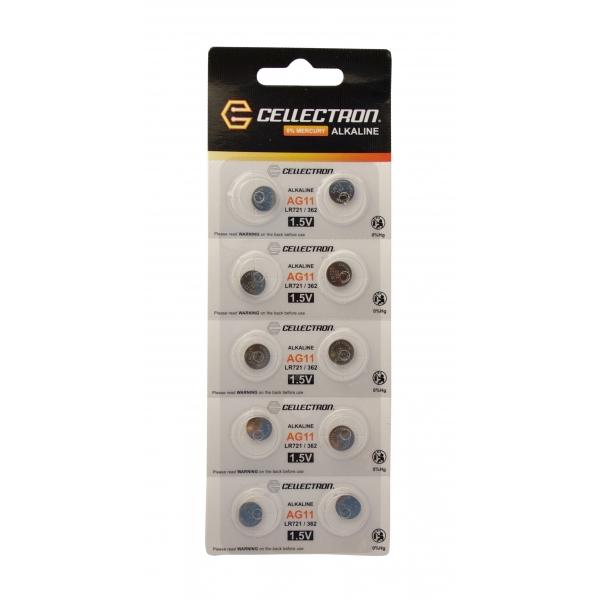 AG11 10 Piles Alcalines AG11 / LR721 / 362 1,5V Cellectron
