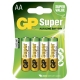Blister de 4 piles alkaline AA / LR6 SUPER - GP Battery
