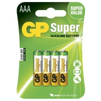 Blister de 4 piles alcaline AAA / LR03 SUPER - GP Battery