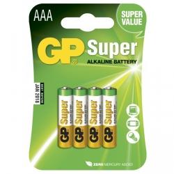 Blister de 4 piles alcaline AAA / LR03 SUPER - GP Battery