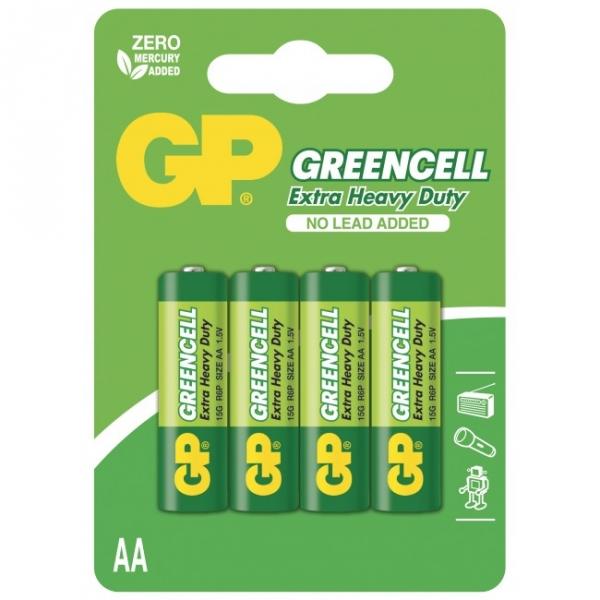 Blister de 4 piles saline AA / R6 - 1,5V GREENCELL