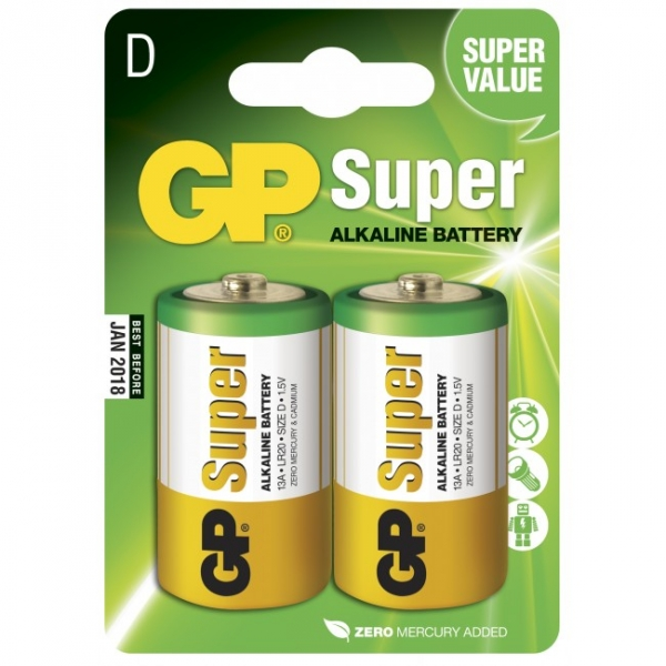 Blister de 2 piles alcaline D / LR20 SUPER - GP Battery