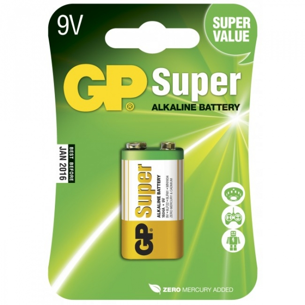 Blister de 1 pile alcaline 9V / 6LF22 SUPER - GP Battery