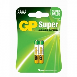 Blister de 2 piles alcaline AAAA / LR61 SUPER - 1,5V - GP Battery