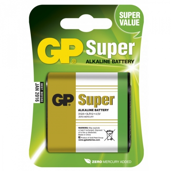 Blister de 1 pile alcaline 3LR12 4,5V SUPER - GP Battery