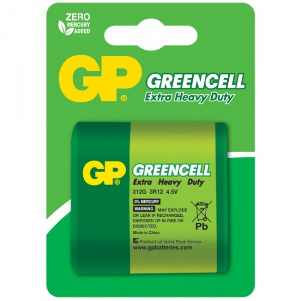 Blister de 1 pile saline 3R12 - 4,5V - GREENCELL - GP Battery