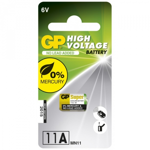 Carte de 1 pile alcaline 11A / MN11 - 6V - GP Battery