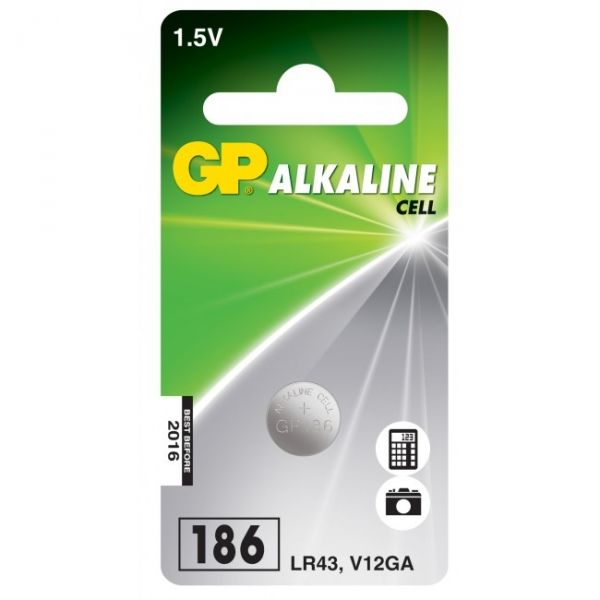 Blister de 1 pile GP 186 / LR43 / V12GA - 1,5V - GP Battery