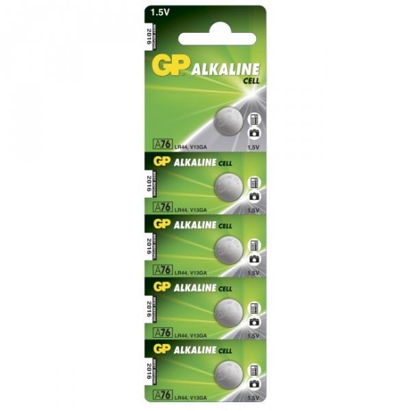 5 piles bouton alcaline GP A76 / LR44 / V13GA - 1,5V - GP Battery
